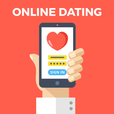 dating: Online dating concept. Hand holding smartphone with online dating app login page. Modern graphic elements. Flat design vector illustration Illustration