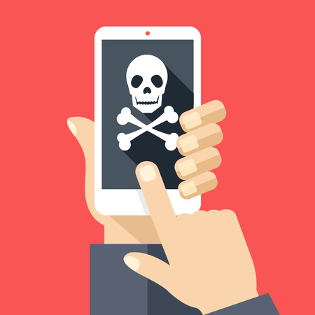 malicious: Hand holds smartphone with skull icon on screen. Broken phone, malicious software, virus attack, dead cellphone. Modern simple flat design with trendy long shadow. Creative vector illustration Illustration