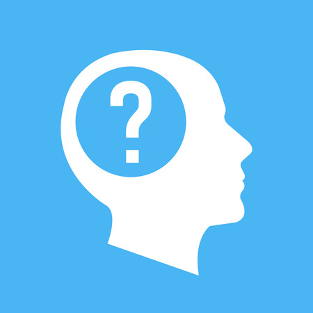 White human head, face profile silhouette with question mark. Flat design vector illustration isolated on blue background