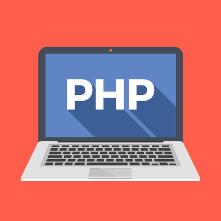Laptop with PHP word on screen. Learn PHP and back-end web development, coding, programming concepts. Trendy long shadow flat design. Colorful creative graphic elements. Vector illustration Illustration