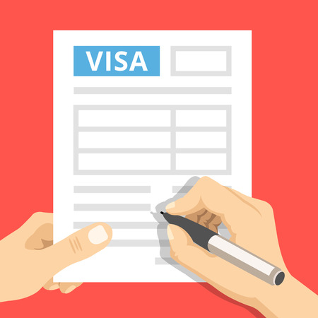Man hands filling out visa application. Hand holds visa application and hand holds pen. Modern concepts. Creative flat design vector illustration