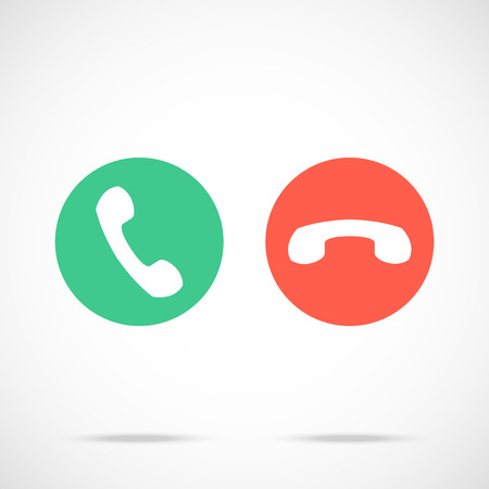 Phone call icons set. Flat design red and green handset pictograms. Vector illustration isolated on trendy background
