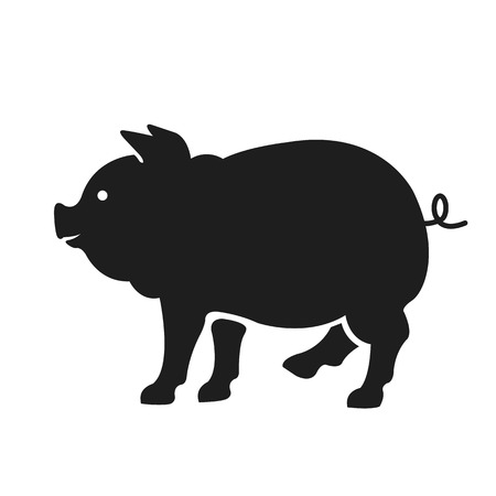 pig roast: Vector pig silhouette. Black color illustration isolated on white background