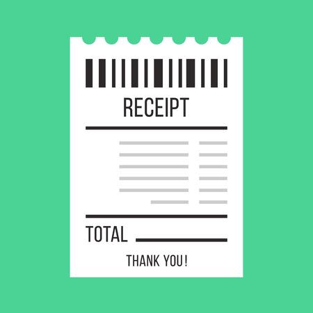 recibo de venta del vector. Papel ATM Bill, cafetería o restaurante cheque, conceptos de recibos. Diseño plano ilustración vectorial