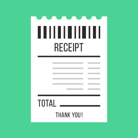 Wektorowy dowód zakupu. Papier ATM Rachunek Bill, kawiarnia lub restauracja, koncepcja otrzymania. Płaski projektowania ilustracji wektorowych