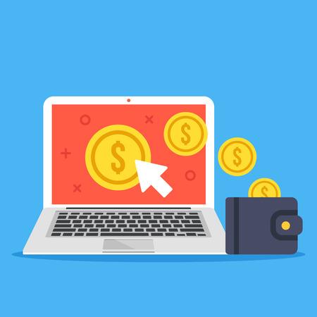 Pay per click, rendere i concetti soldi online. Laptop, il cursore del mouse, monete d'oro e il portafogli. I moderni elementi grafici di design piatto isolato su sfondo blu. illustrazione vettoriale creativo