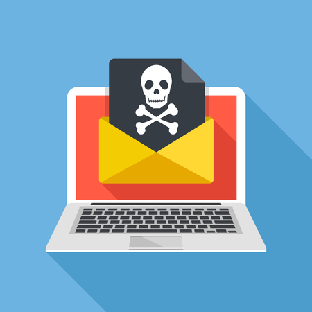 Laptop and envelope with black document and skull icon. Virus, malware, email fraud, e-mail spam, phishing scam, hacker attack concept. Trendy flat design graphic with long shadow. Vector illustration