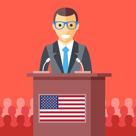 presidential: Man giving speech at rostrum with american flag. Male character, wooden podium tribune with USA flag. President speech, election debates, presidential campaign concept. Flat design vector illustration Illustration