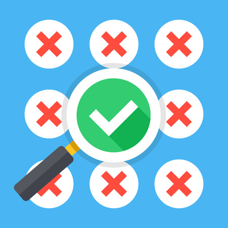 right choice: Many red crosses round check mark icons set and magnifying glass with tick icon. Make right choice, good decision, best solution concepts. Trendy long shadow flat design. Vector illustration