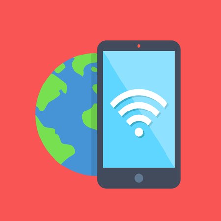 hotspot: Vector smartphone with WiFi icon on screen and planet earth behind. Modern flat design concept Illustration
