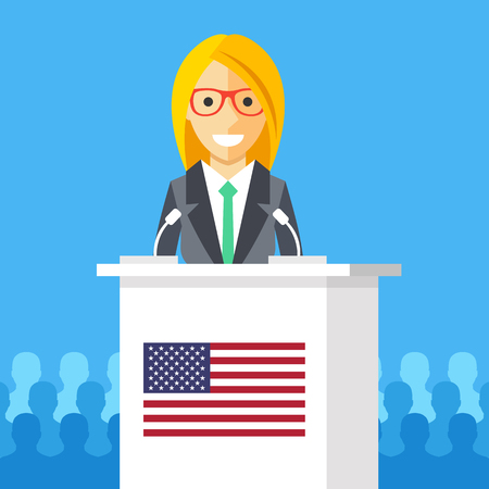 rostrum: Woman giving speech at rostrum with american flag. Female character, white podium tribune, american flag. President speech, election debates, presidential campaign concepts. Flat vector illustration