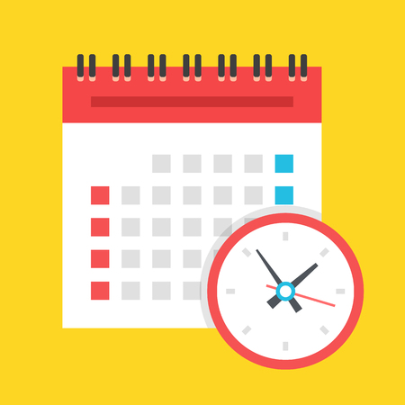 Vector calendar and clock icon. US version. Isolated on yellow background. Flat design illustration