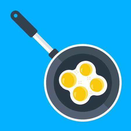 huevos estrellados: Vector de la sartén y los huevos fritos. ilustración plana creativa Vectores