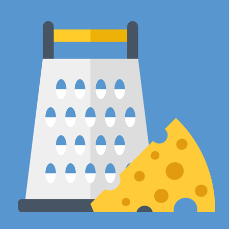 grater: Cheese grater and cheese wedge. Vector illustration Illustration