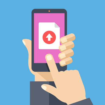 web sites: File upload button on smartphone screen. Hand holding smartphone, finger touching button. Uploading document concept for web banners, web sites, infographics. Creative flat design vector illustration