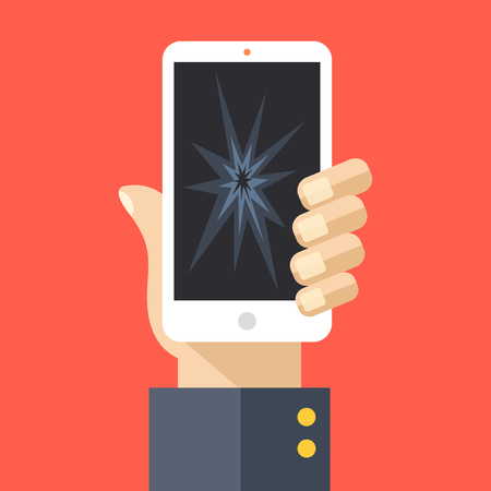 smartphone: Hand holding smartphone with cracked screen. Modern cell phone with broken glass, damaged display. Flat design vector illustration Illustration