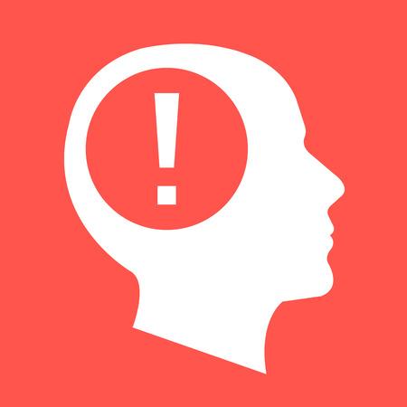 visage profil: tête humaine blanc, visage profil silhouette avec point d'exclamation. Design plat illustration vectorielle isolé sur fond rouge