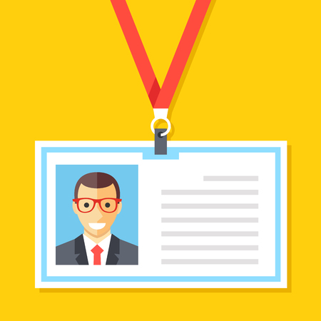 lanyard: ID card with man photo. Plastic identification card, lanyard, employee name badge concepts. Cartoon flat design vector illustration