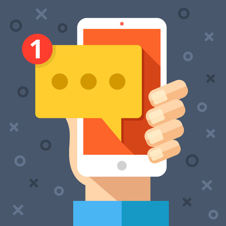 instant message: Hand holding smartphone with new message on screen. Chat, tweet, instant messaging, sms, mobile messenger concepts for web sites, web banners, printed materials. Modern flat design vector illustration Illustration