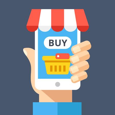 Hand met smartphone met boodschappenmand en koop knop op het scherm en decoratieve luifel. E-commerce, online winkel, internetwinkel, e-commerce concepten. Moderne plat ontwerp vectorillustratie