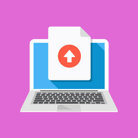 uploading: Laptop and upload file icon. Document uploading concept. Flat design graphic with long shadow. Vector illustration