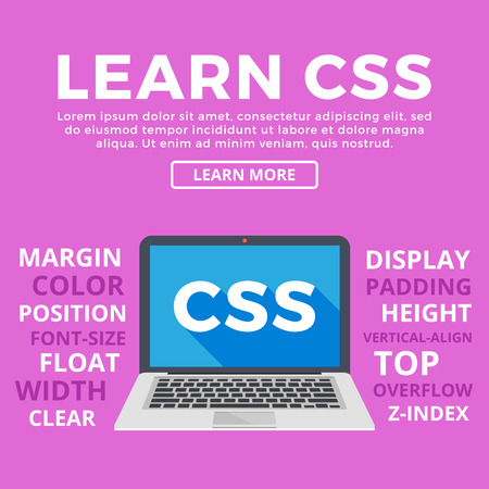 web sites: Laptop with CSS word on screen. Learn CSS, programming, web development, coding concepts. Modern graphic for web banners, web sites, printed materials, infographics. Flat design vector illustration