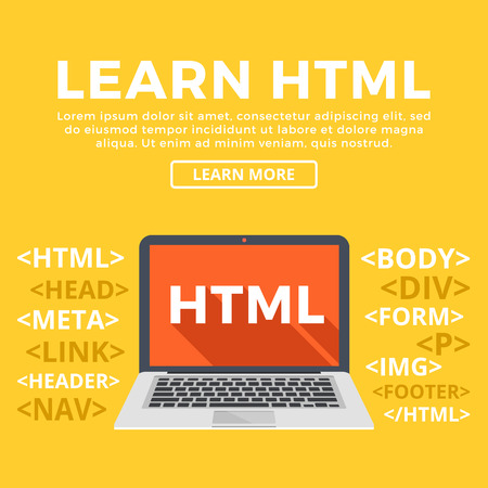 Laptop with HTML word on screen. Learn HTML, programming, web development, web design, coding. Modern graphic for web banners, website, printed materials, infographics. Flat design vector illustration