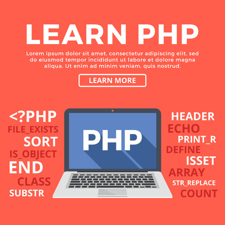 php: Laptop with PHP word on screen. Learn PHP and back-end web development, coding, programming. Modern graphic for web banners, web sites, printed materials, infographics. Flat design vector illustration Illustration