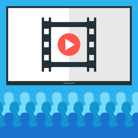 movie screen: People at cinema and cinema screen with film frame. Audience watching movie concept. Flat design vector illustration Illustration
