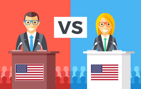 senate race: Presidential debates. Candidates at rostrums with United States flags. People silhouettes behind. Man and woman discussing politics. USA presidential elections concept. Flat design vector illustration Illustration