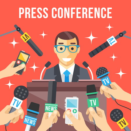 conference speaker: Press conference. Speaker standing at rostrum, many hands with microphones, recorders around him. Man giving public speech in front of mass media. Breaking news, live report. Flat vector illustration Illustration