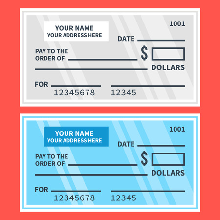 checkbook: Vector bank checks set. Blank cheques. Flat design illustration