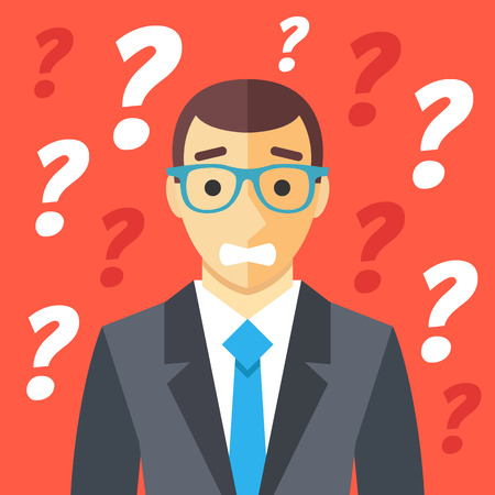 misunderstanding: Confused man and many question marks. Confusion, difficult situation, clueless human, misunderstanding graphic concepts. Creative flat design vector illustration