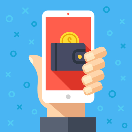 app banner: Hand holding smartphone with wallet and coin on screen. Online payment, internet banking, pay with your cellphone, mobile wallet graphic design concepts. Creative modern flat vector illustration