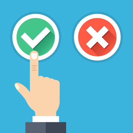 right hand: Hand pushing button with checkmark. Green tick and red cross round buttons set with long shadows. Difficult choice, tough decision, choose between yes and no concepts. Flat design vector illustration
