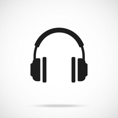 Vector headphones icon. Black symbol silhouette
