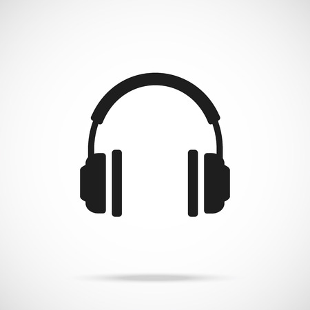 Vector headphones icon. Black symbol silhouette