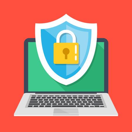 La seguridad informática, proteger sus conceptos portátiles. Cuaderno y icono del escudo con candado. ilustración vectorial moderno diseño plano Ilustración de vector