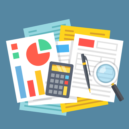 calculator money: Paperwork, office work, financial analysis, accounting concepts. Many paper sheets, calculator, graphs and chart, magnifying glass and pen. Top view. Modern flat design vector illustration