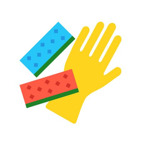 lavar platos: Vector guante de la limpieza de la cocina y esponjas. Lavar platos, conceptos limpieza de la casa. ilustración diseño plano