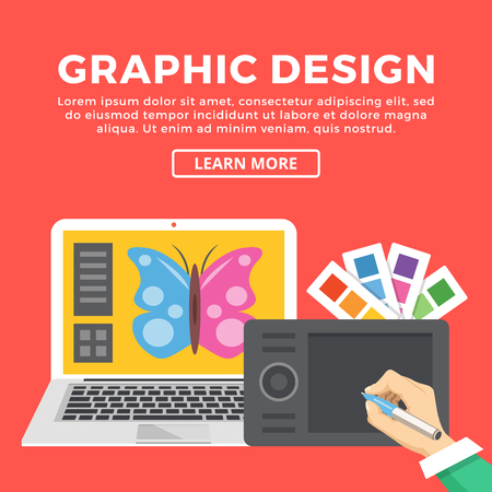 web screen: Graphic design web banner. Hand with pen drawing with digital tablet. Color palettes, laptop with butterfly on screen. Creating digital illustration, creative process concept. Vector flat illustration