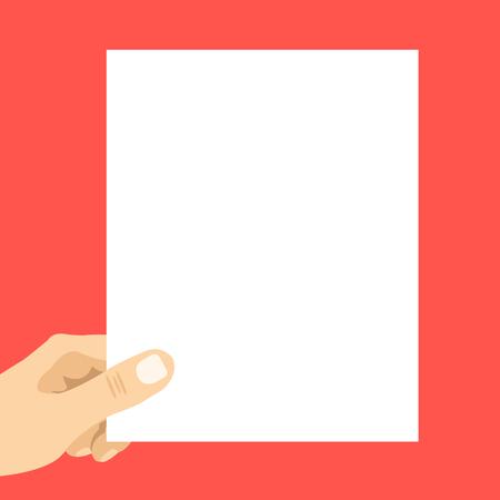 hand holding paper: Hand holding blank paper. White sheet. Modern vector illustration