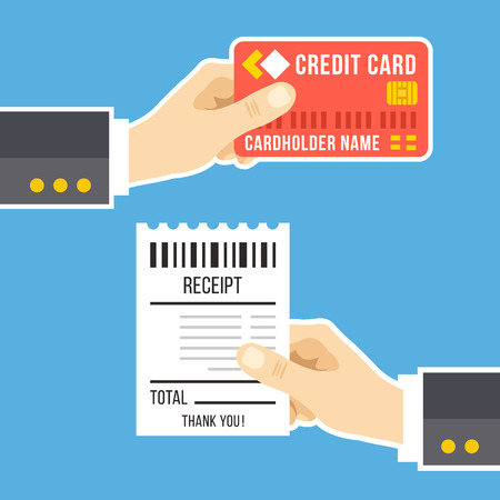 pay bills: Hand with credit card and hand with receipt. Pay bills, business, online payment, tips, pay at restaurant concept. Modern flat design vector illustration