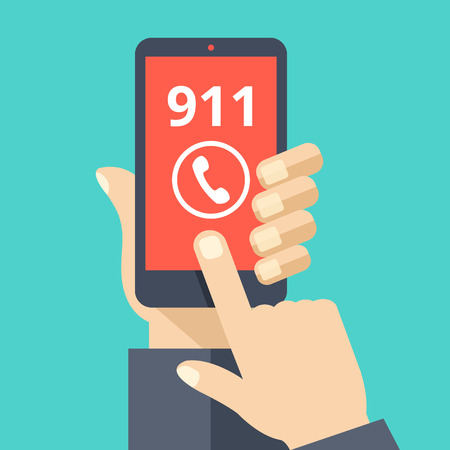 smartphone in hand: Call 911, emergency call concept. Hand holding smartphone, finger touching call button. Modern flat design vector illustration Illustration