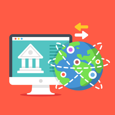 internet globe: Bank building on computer screen, Earth globe and exchange arrows. Internet banking, online payment, remittance, financial transactions concepts. Modern flat design vector illustration Illustration
