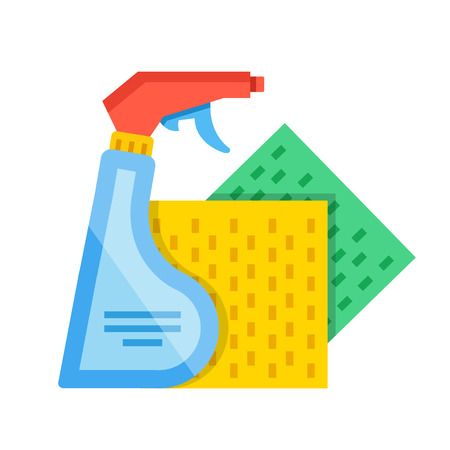 Detergent spray bottle and green and yellow sponge cloths. Cleaning, washing concepts. Modern flat design vector illustration