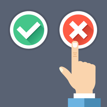 green tick: Hand pushing red button with cross. Red cross and green tick round buttons set with long shadows. Wrong choice, bad decision, error, choose between yes and no concepts. Flat design vector illustration
