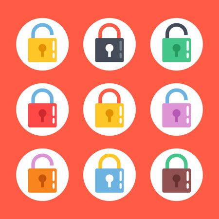 open sign: Padlock icons set. Flat design vector lock icons