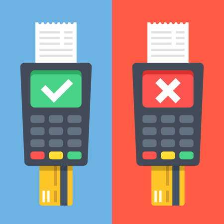 terminal: POS terminals with checkmarks, receipts, inserted credit cards. Tick ??and cross on displays. Checkout, terminal payment, pay with credit card concepts. Flat design graphic elements. Vector illustration