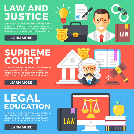 Law and justice, supreme court, legal education flat illustration concepts set. Flat design graphic elements for web banners, web sites, printed materials, infographics. Modern vector illustrations